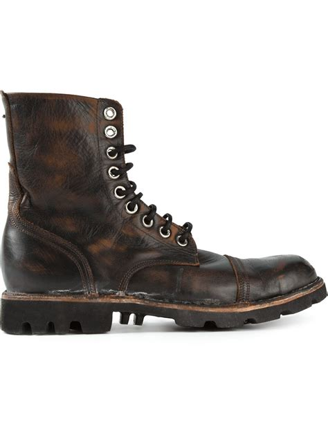 DIESEL 'Steel' Lace Up Boots in Black for Men - Lyst