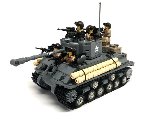 Battle Damaged Sherman M4A3E8 Tank w/crew - Brickmania Toys