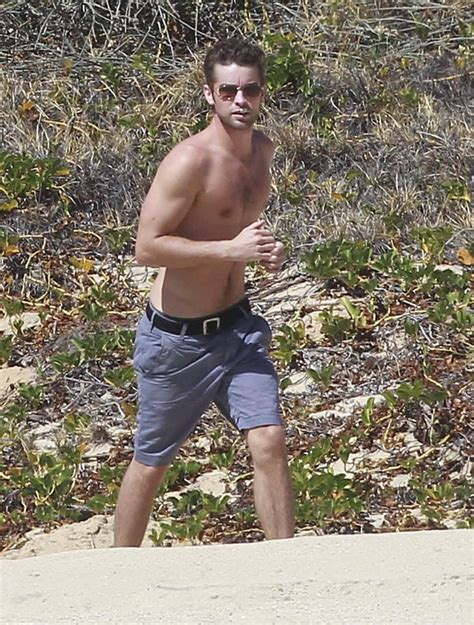 Chace Crawford ran on the beach shirtless