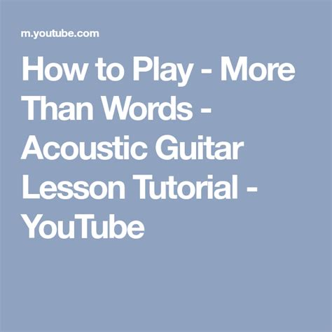 How to Play - More Than Words - Acoustic Guitar Lesson